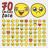 Set of 70 yellow different Smiley Face stock illustration