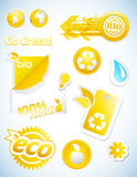 Set of yellow ecology icons. Royalty Free Stock Photography