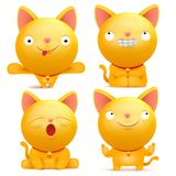 Set of yellow emoji cat characters in various situations. Vector illustration Royalty Free Stock Image