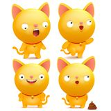 Set of yellow emoji cat characters in various situations. Vector illustration Royalty Free Stock Images