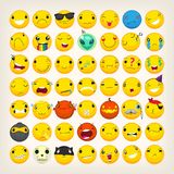 Colorful emoticons for any ocasion. Set of yellow emoji and emoticons with different facial expressions dressed up in costumes for holidays. Flat isolated Royalty Free Stock Photo
