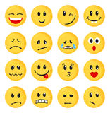 Set of yellow emoticons and emojis. Vector illustration in watercolor style on white background Royalty Free Stock Photo