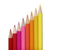 set yellow för färgad blyertspennared Arkivbilder