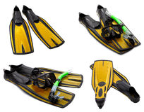Set of yellow flippers, mask, snorkel for diving with water drop Royalty Free Stock Photos