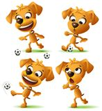 Set yellow funny dog playing soccer ball stock illustration
