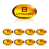Set of yellow gelatin capsule vitamin b. Vector illustration Royalty Free Stock Photo