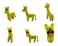 Set of yellow giraffe made from plasticine Royalty Free Stock Image