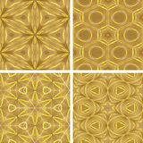 Set of yellow glowing abstrack seamless background Stock Images