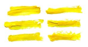 Set of yellow gouache brush strokes. Set of yellow abstract gouache brush strokes on a white background vector illustration