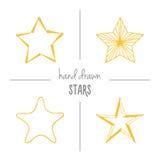 Set of yellow hand drawn stars. Royalty Free Stock Photos