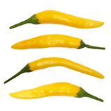Set of yellow hot chili peppers isolated on white background Stock Photography