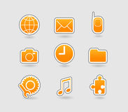 Set of yellow icons. Vector. Art Royalty Free Stock Photos