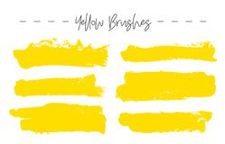 Set of yellow ink brush strokes. Vector illustration on a white background. Hand drawn grunge brushes Vector Illustration