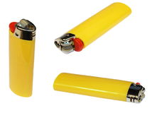 Set yellow lighter isolated on white Royalty Free Stock Photos