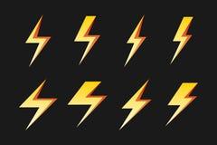 Set of yellow lightnings  over black Stock Photography