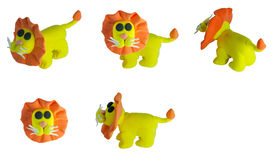 Set of yellow lion made from plasticin Royalty Free Stock Image