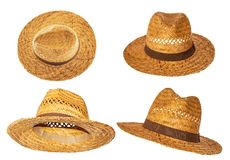 40a515578bd Set of yellow straw hats on white background side view royalty free stock  photos