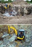 Yellow mini excavator stock photo