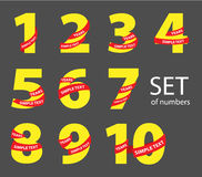Set of yellow numbers with red ribbons Royalty Free Stock Photos