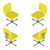 Set yellow office chair on white background. Flat 3d isometric vector illustration. For infographics and design games Stock Image
