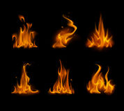 Set of Yellow Orange Fire Flame Bonfire Isolated on Background Stock Photography