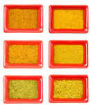 Set of yellow and orange kindes seasoning, aromatic and tasty Stock Photos