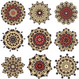 Set of yellow orange mandalas Stock Image