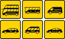 Set yellow passenger transport icon Royalty Free Stock Photos