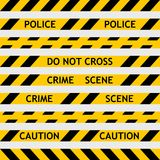 Set yellow police tape enclosing for forensics. And yellow tape with black diagonal stripes for fencing off the crime scene, the investigation leads CSI do not Stock Photo