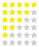 Set of yellow rating stars Stock Photo