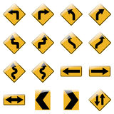 Set of yellow road traffic signs. Vector Royalty Free Stock Image