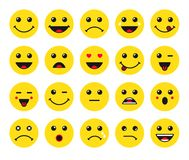 Set of yellow round emoticons or emoji illustration icons. Smile icons vector illustration isolated on white background. Concept for World Smile Day smiling card Royalty Free Stock Images