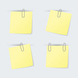 Set of yellow sheets attached clip Royalty Free Stock Images