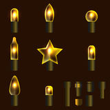 Set of yellow shining garland lights. With holders isolated on background. Christmas, New Year party decoration realistic design elements. Glowing lights for Stock Image