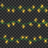 Set of yellow shining garland lights. With holders isolated on transparent background. Christmas, New Year party decoration realistic design elements. Glowing Stock Images