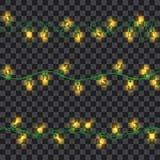 Set of yellow shining garland lights Stock Images
