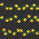 Set of yellow shining garland lights. With holders isolated on transparent background. Christmas, New Year party decoration realistic design elements. Glowing Royalty Free Stock Image