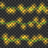Set of yellow shining garland lights. With holders  on transparent background. Christmas, New Year party decoration realistic design elements. Glowing lights Royalty Free Stock Images
