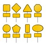 Set of yellow signs Stock Photo