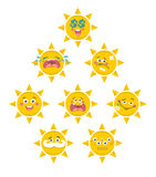 Set of yellow smile faces of sun. Vector collection Stock Photo