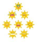 Set of yellow smile faces of sun Stock Photo