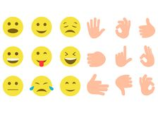 Set of yellow smile and Hand gestures Stock Image