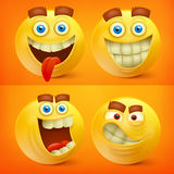 Set of yellow smiley characters with different emotions Stock Photography