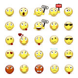 Set yellow smiley face with a different mood Royalty Free Stock Photos