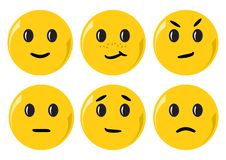 Set of yellow smileys with different emotions. Vector royalty free illustration