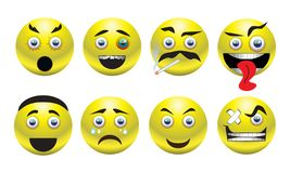 Set of yellow smileys. Vector icons royalty free illustration