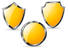 Set of yellow steel shields Stock Photos