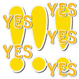 Set of yellow sticker exclamation mark and word yes Royalty Free Stock Images