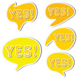 Set of yellow sticker speech bubbles and word yes Stock Photo