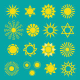 Set of yellow sun icons Royalty Free Stock Images